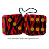 3 Inch Zebra Red Furry Dice with Light Brown Dots