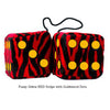 3 Inch Zebra Red Furry Dice with Goldenrod Dots