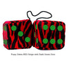 3 Inch Zebra Red Furry Dice with Dark Green Dots