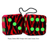 3 Inch Zebra Red Furry Dice with Lime Green Dots