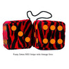 3 Inch Zebra Red Furry Dice with Orange Dots