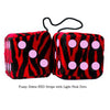 3 Inch Zebra Red Furry Dice with Light Pink Dots