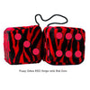 3 Inch Zebra Red Furry Dice with Red Dots