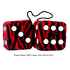 3 Inch Zebra Red Furry Dice with White Dots