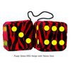 3 Inch Zebra Red Furry Dice with Yellow Dots