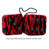 3 Inch Zebra Red Fluffy Dice with BLACK GLITTER DOTS
