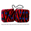 3 Inch Zebra Red Fluffy Dice with ROYAL NAVY BLUE GLITTER DOTS