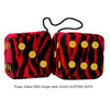 3 Inch Zebra Red Fluffy Dice with GOLD GLITTER DOTS