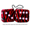 3 Inch Zebra Red Fluffy Dice with LIGHT PINK GLITTER DOTS