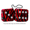 3 Inch Red Zebra Fluffy Dice with SILVER GLITTER DOTS