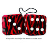 3 Inch Zebra Red Fluffy Dice with WHITE GLITTER DOTS