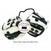3 Inch Zebra Fuzzy Dice with Black Dots