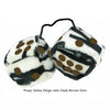 3 Inch Zebra Fuzzy Dice with Dark Brown Dots