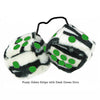 3 Inch Zebra Fuzzy Dice with Dark Green Dots