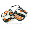 3 Inch Zebra Fuzzy Dice with Orange Dots