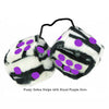 3 Inch Zebra Fuzzy Dice with Royal Purple Dots