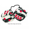 3 Inch Zebra Fuzzy Dice with Red Dots