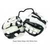3 Inch Zebra Fuzzy Dice with White Dots