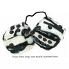 3 Inch Zebra Fuzzy Dice with BLACK GLITTER DOTS