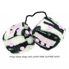 3 Inch Zebra Fuzzy Dice with LIGHT PINK GLITTER DOTS