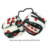 3 Inch Zebra Fuzzy Dice with RED GLITTER DOTS
