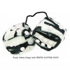 3 Inch Zebra Fuzzy Dice with WHITE GLITTER DOTS