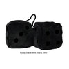 3 Inch Black Fuzzy Dice with Black Dots
