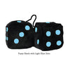 4 Inch Black Fuzzy Dice with Light Blue Dots