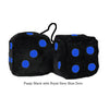 4 Inch Black Fuzzy Dice with Royal Navy Blue Dots