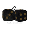 3 Inch Black Fuzzy Dice with Dark Brown Dots