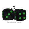 3 Inch Black Fuzzy Dice with Dark Green Dots