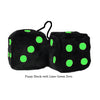 3 Inch Black Fuzzy Dice with Lime Green Dots