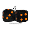 3 Inch Black Fuzzy Dice with Orange Dots