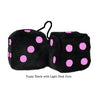 4 Inch Black Fuzzy Dice with Light Pink Dots