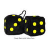 4 Inch Black Fuzzy Dice with Yellow Dots