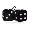 3 Inch Black Fuzzy Dice with LIGHT PINK GLITTER DOTS