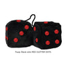 3 Inch Black Fuzzy Dice with RED GLITTER DOTS