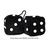 3 Inch Black Fuzzy Dice with WHITE GLITTER DOTS