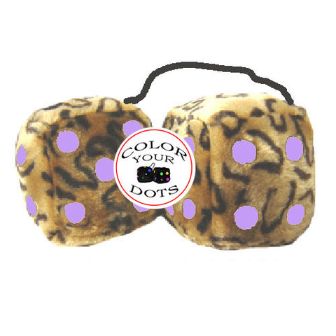 4 Inch Leopard Brown Fluffy Dice