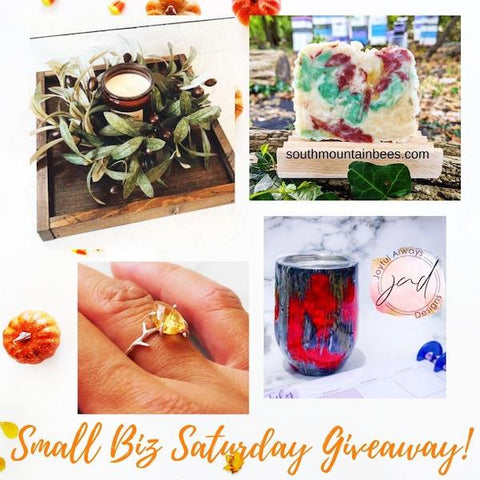 Fall Giveaway. Four beautiful gifts from four women owned businesses: a charcuterie board, a natural soap, a tumbler, and a citrine ring.