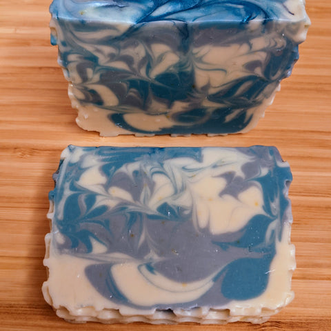 Rosemary soap with blue and gray swirls