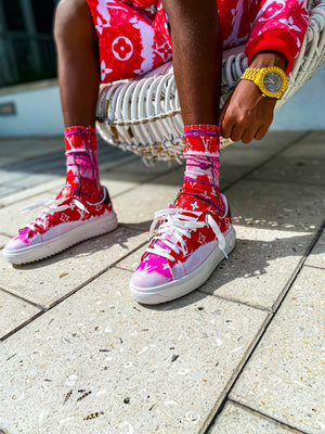 """Slide Thru"" Socks Pink"