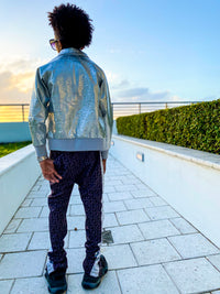 """Platinum"" Embossed Leather Jacket"