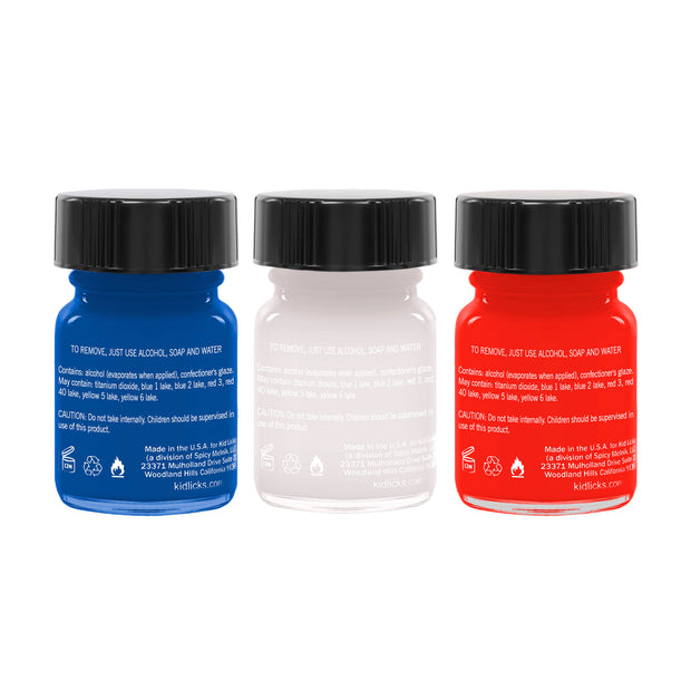 Patriotic Party Pack - 3 Edible Ingredients Nail Polish Colors