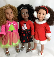 Special Christmas Delux Package includes wardrobe for each doll!