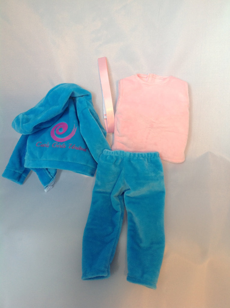 4 Piece Velour Curly Girls United Logo Outfit