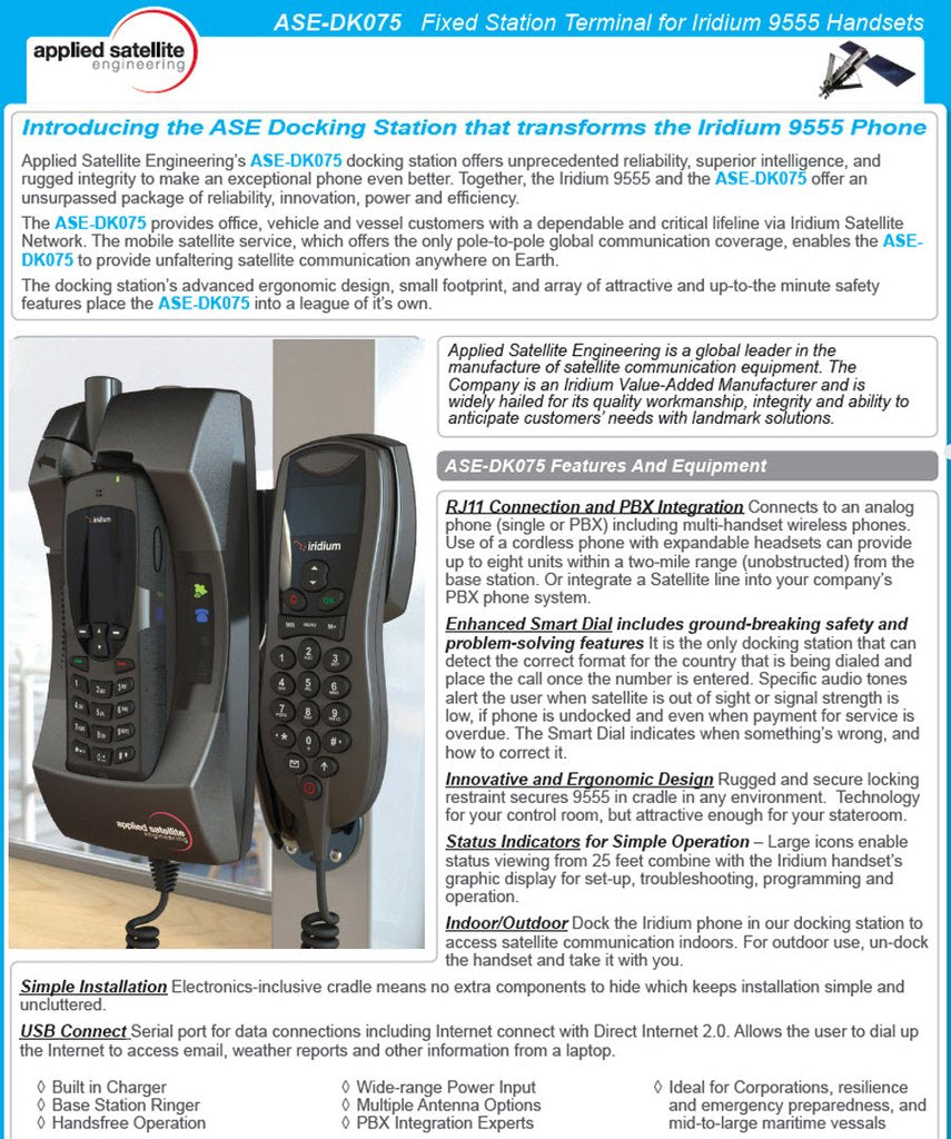 ASE 9555 Docking station with intelligent handset ASE-DK075-H
