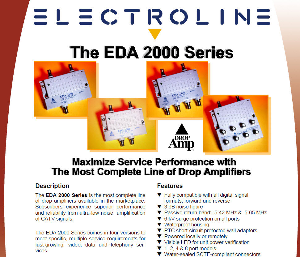 Electroline Cable Tv Amp Eda 2100 Mj Sales Inc Signal Booster Amplifier Circuit Diagram A Waterproof Housing And Scte Compliant 360 F Terminals Ensure Nearly Indestructible Design As Do Short Protected Wall Adapters