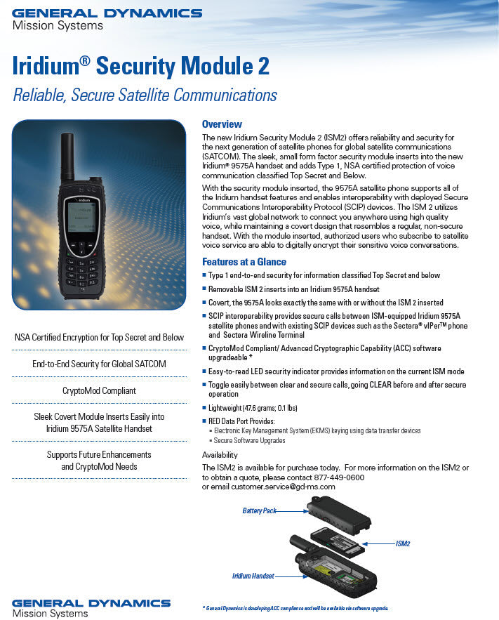General Dynamics Iridium Security Module 2 9575A