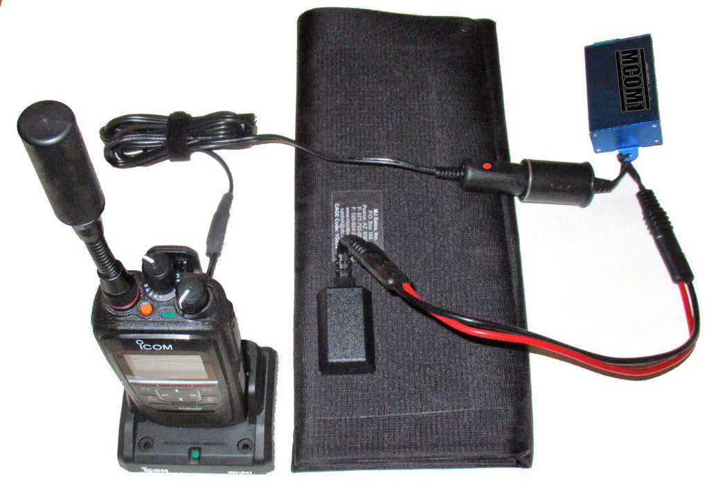 Icom Iridum PTT Radio and solar charger